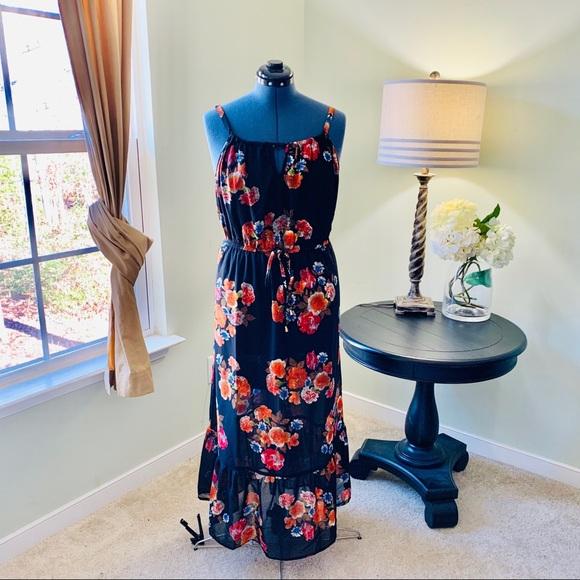 Speed Control Floral Black Ruffle Dress Size 2X